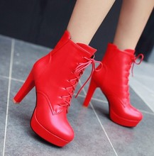 high heels motorcycle shoes autumn winter fashion casual women ankle boots lace up PU rubber boot woman platform shoes HH193