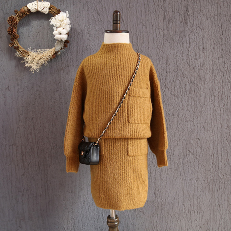 Fashion Girls Clothing 2017 Korean Loose Knit Pocket Long Sleeve Pullover Sweater Skirt Children Clothing Sets Autumn 2pc Suit<br><br>Aliexpress