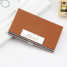 Personalized Business Card Holder for Men Women Custom Logo Engraved Leather Business Card Case Corporate Gift for Client 50pcs(China)