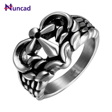 Cool Fashion Heart Shaped Vintage Cross Designed Mens Punk Gothic Ring Stainless Steel Jewelry anillos hombre(China)
