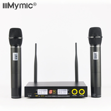 Sound Effect Adjust !! Dual Way Digital UHF Wireless Microphone System with 2 Metal Handhelds for Entertainment KTV Talk show