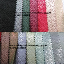 Weaving Grain Metallic  Leather Fabric, Faux Leather Fabric, Synthetic Leather DIY Material for bags mobile shoes P852