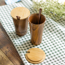 Simple life Japanese style creative wooden cup milk coffee mug tea cup water bottle spoon with lid 250ml