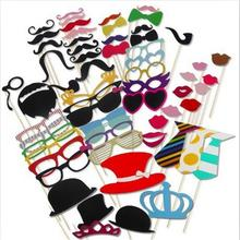 Photo Booth 60pcs DIY Photo Props Wedding Decoration Birthday Party Kids Favors Fun Mask Photography Event Supplies(China)