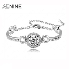 AENINE Romantic Valentine's Gift Bangle White Gold Color Round CZ Stone Bracelet For Women Trendy Christmas Jewelry B150110220R