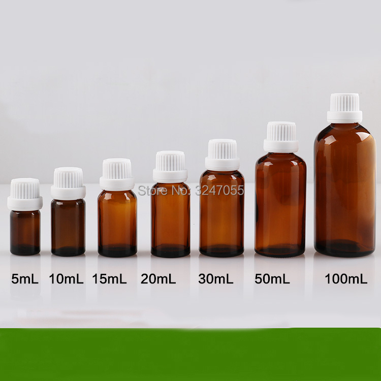 5ml10ml15ml20ml30ml50ml100ml Empty Brown Glass Reducer Essential Oil Bottle, DIY Amber Vials with Tamper Evident Reducer<br>