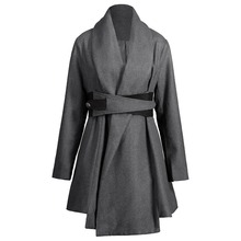 2017 Nextmia Brand Plus Size Belted Asymmetrical Skirted Long Wool Blends Women Autumn Coat Oversize trend Winter Coats(China)