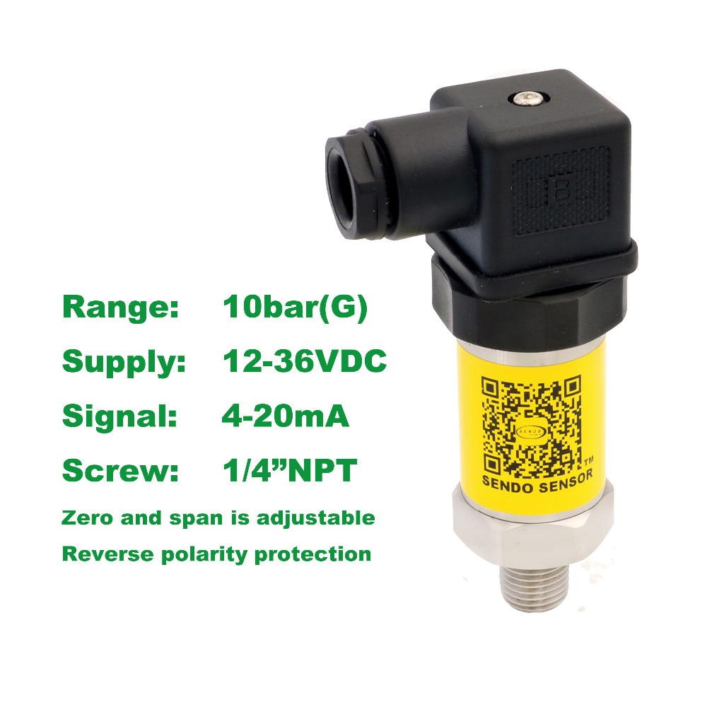 pressure sensor 4-20mA, 12-36V supply, 1MPa/10bar/150psi gauge, 1/4NPT, 0.5% accuracy, stainless steel 316L diaphragm, low cost<br>