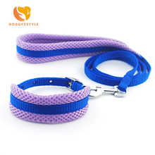 DOGGYZSTYLE Free shipping dogs breathable mesh collar lead set doggy outdoor training neck strap leash suit pet products