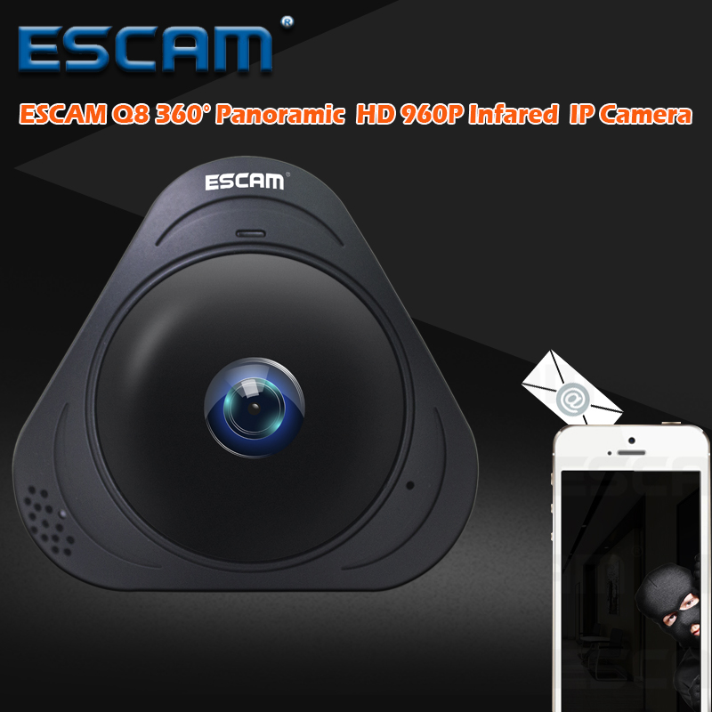 ESCAM Q8 HD 960P 1.3MP 360 Degree Fisheye Wifi IR Infrared Camera VR Camera 2 Way Audio Motion Detector Support 128G Card Black<br>