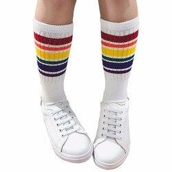 Детские хлопковые длинные носки для футбола, с полосками
