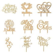 2017 New Wood Cake Topper Mr Mrs Tree Cake Topper  Wedding Cake Accessory Wooden Cake Topper Wedding Party Decoration