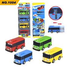 4pcs/set Tayo the little bus Korean Anime oyuncak araba car model mini plastic pull back tayo bus for kids Christmas gift