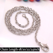 Wholesale-50piece 45-50-55-61mm long Rhodium Plated IRON 2*3mm Polo Chain Jewelry Parts with Lobster Clasp