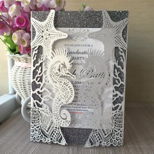 2017 Latest Luxury Lace Cheap Indian Chinese Korean Royal Wedding Invitation Card Unique Star Design 24 Colors for your choose(China)