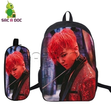 2 Pcs/set BIGBANG Backpacks for Teenage Boys Girls Idol G-dragon GD T.O.P Printed School Bags Fashion Backpacks Kids Bookbag(China)