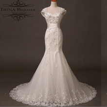 Factory Direct Order Cap Sleeve Lace Applique Mermaid Keyhole Back Wedding Dresses