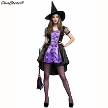 Chafferer 2017 New Fashion Women Halloween Costumes Purple Swallowtail Witch Dresses Cosplay Game Suit Sexy Women's Party Outfit(China)