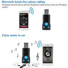 USB Bluetooth Handsfree Phone Calling Music Audio Stereo Adapter Receiver for Car Aux in Home Speaker