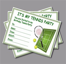 20 pcs/lot Custom Tennis Birthday Invitation kids Children Tennis Birthday Baby Shower party decoration supplier free shipping(China)