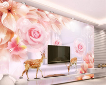 beibehang wallpaper Custom Wallpaper Fashion 3D Channel Dream Flower Pink Rose TV Wall wallpaper for walls 3 d papel de parede(China)