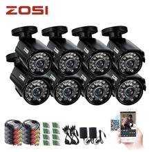 ZOSI  8pcs 800TVL High resolution CCTV Camera IR Cut 24Led Hour Day/Night Vision IP66 Outdoor Bullet video Surveillance Camera