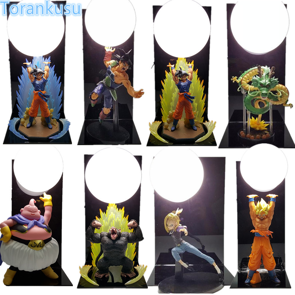 Dragon Ball Z Son Gokou Spirit Bombs Table Lamp Luminaria LED Display Toy Dragonball Z Goku Burdock Shenron Buu Model DBZ DIY122<br>
