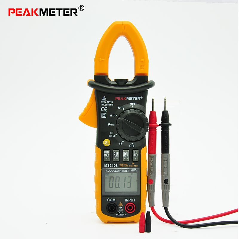 MS2108A Digital AC/DC Clamp Meter 4000 Counts Resistance Earth Tester Multimeter Multimetro<br>