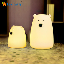 LumiParty LED Night Light Colorful Little Bear Silicone 7 Colors Touch Sensor lights Children Cute Night Lamp Bedroom Light(China)