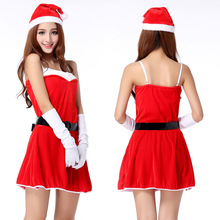 2017 New Year Women's Sexy Xmas Dress Costume Santa Claus Suit Christmas Eve Cosplay Party Dresses Sexy Santa Outfit