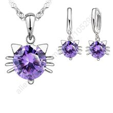 JEXXI Purple Stone Good Kitty Jewellery Sets 925 Sterling Silver Cubic Zircon CZ Cat Pendant Necklace Earring Sets Stock Ship(China)