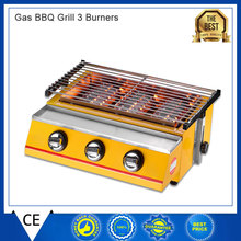 2-3 People Gas BBQ Grill 3 Burners Barbecue Stove Adjustable Height Smokeless Outdoor Picnic(China)