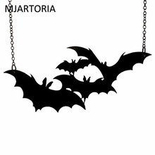 MJARTORIA Halloween Punk Rock Cute Black Bat Pendant Necklace Gift Women Men Trendy Fashion Jewelry For Party 59cm(China)