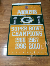 Green bay packers Super Bowl Champions Flag 3x5 FT 150X90CM NFL Banner 100D Polyester Custom flag grommets , free shipping