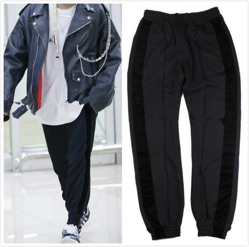 Kpop Side Velvet Striped Jogger Mens 2018 Hip Hop Spliced Style Track Pants Free Shipping