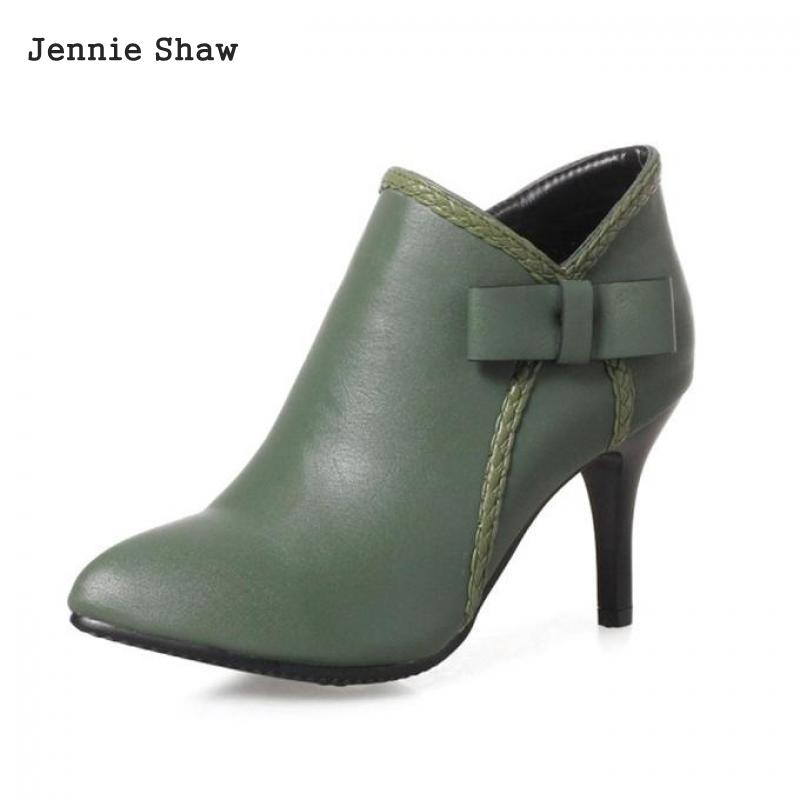 Jennie Shaw Pu Ankle Boot Zip Pointed Toe High Heel Short Boots Women Spring/autumn Solid Green Black Red Shoes Sys-1350<br>