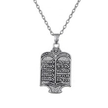 Dawapara Tibetan Silver Plated Jewish Torah Scroll 10 Commandments Hebrew Pendant Women Necklaces Vintage Ethnic Jewelry