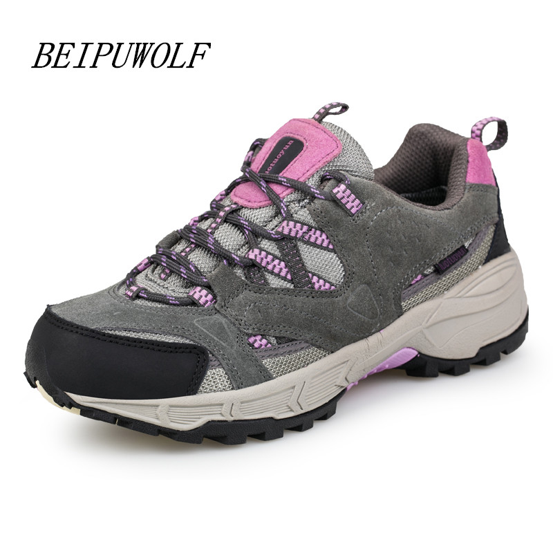 2016 Autumn and Winter Women Girls Genuine Leather Hiking Shoes Comfortable Outdoor Trekking Sneakers Breathable Sports Shoes<br>
