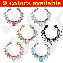 High quality wholesale fake nose ring jewelry silver gold black fake septum Piercing clicker faux clip non Body Hoop For Women(China)