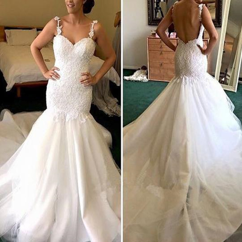 Robe De Mariee Sleeveless Sweetheart Spaghetti Straps Long Mermaid Ivory Lace Backless Wedding Dresses 2019