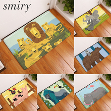 Smiry non-slip commercial stair floor mats funny cartoon lion family singing elephant animals pattern anti-skid bedroom carpets(China)