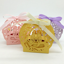 50pcs Laser Cut Love Birds Wedding Candy Favor Box Birthday Party Bridal Shower Favor Gift Boxes for Christmas New Year Holiday(China)