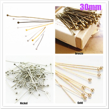 GHRQX 400 pcs 30mm Gold/silver /bronze/ Nickel Plating Ball Head Pins Jewelry Findings Wholesale(China)