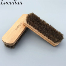 100% Genuine Horsehair Leather Bristles Car Detailing Polishing Buffing Brush Solid Wood Car Cleaning Brush(China)