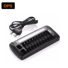 9V 1.2V 10 Slots LCD Display Smart Intelligent Battery Charger AA / AAA NiCd NiMh Rechargeable Batteries EU US Plug