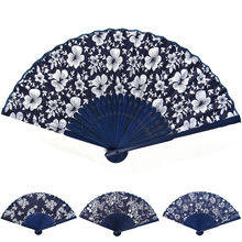 1 PCS Classical flower design Chinese style blue fabric hand fan with dyed blue bamboo frame Wedding Party Favor(China)