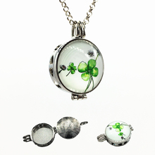 2017 New 1X Dark Silver Hollow Heart Four-leaf Clovers Cameo Design Alloy Essential Oil Diffuser Locket Pendant Necklace Jewelry