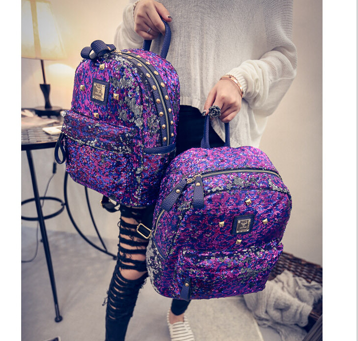 Hot Sale New Fashion Women Sequins bag  School Student Backpack Travel/Cool Backpacks Bag baobao Purple Color Shoulder Bag bolsa<br><br>Aliexpress