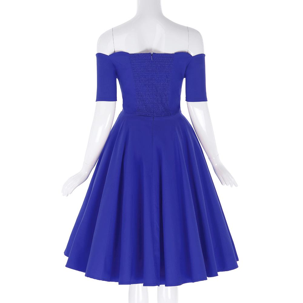 Belle Poque 17 Women Dress Robe Vintage Off Shoulder Black Summer Dress Jurken 1950s 60s Retro Rockabilly Swing Party Dresses 36