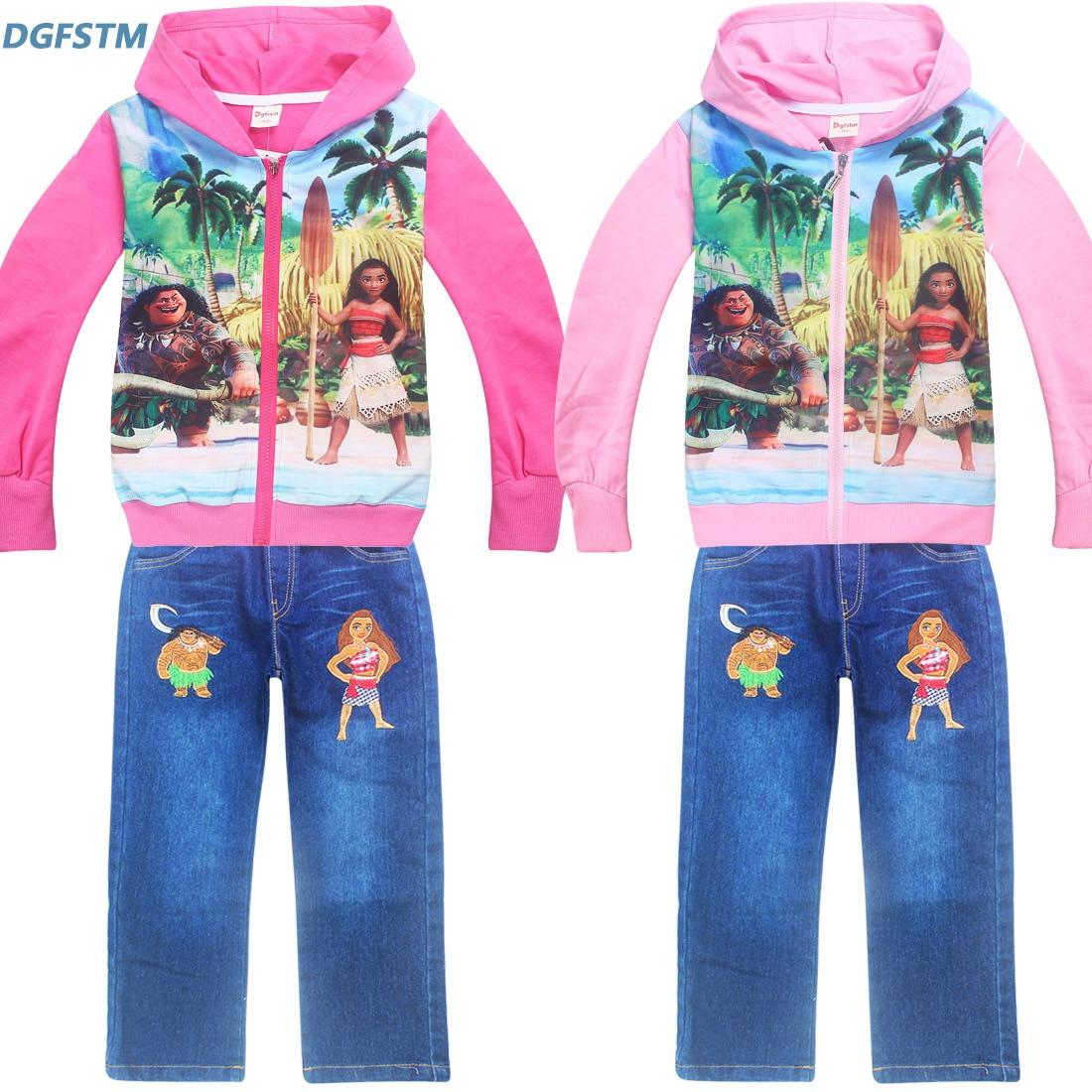 Newest Autumn Winter Clothing Set Moana vaiana cartoon Baby Girls Long Sleeved Cardigan +jeans Pant 2pcs/set Kids Sets for Girls<br>